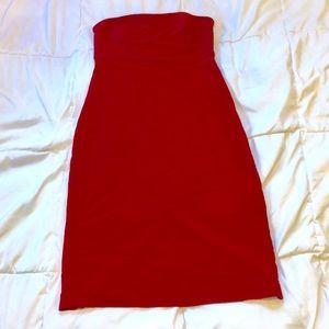Express stretch strapless red dress